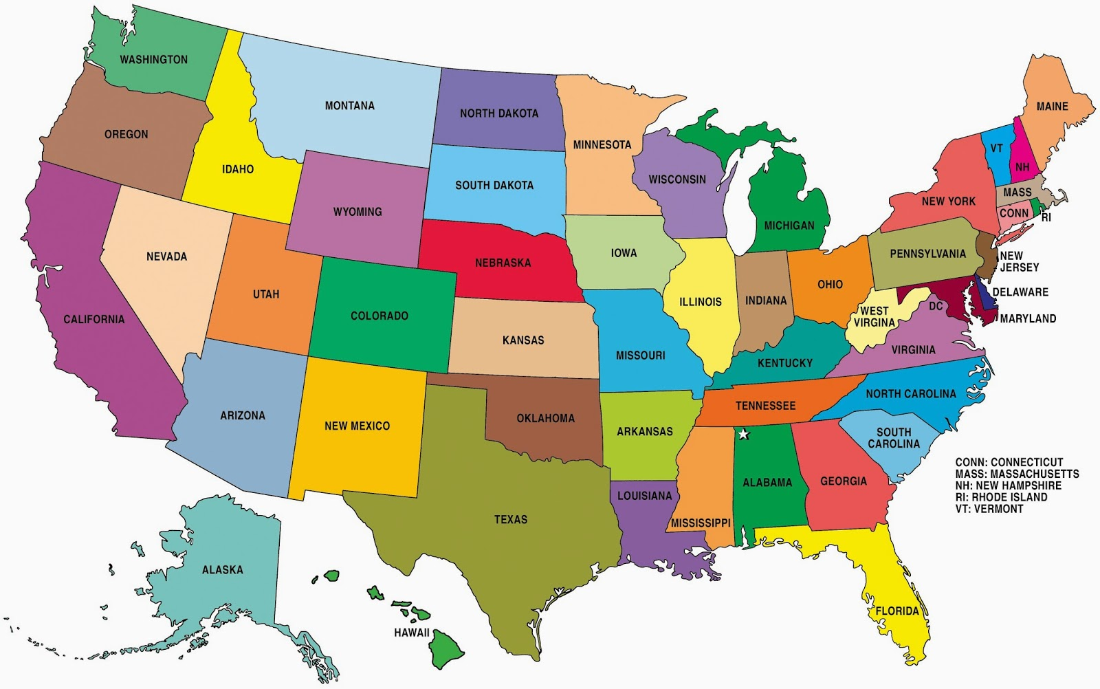 Usa Map Showing 50 States Compressor Free